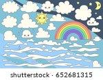 vector set of cartoon clouds on ... | Shutterstock .eps vector #652681315