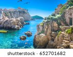 marble hidden bay in old city... | Shutterstock . vector #652701682