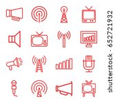 broadcast icons set. set of 16... | Shutterstock .eps vector #652721932