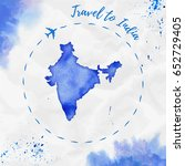 india watercolor map in blue... | Shutterstock .eps vector #652729405