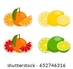 icons vector citrus fruits ... | Shutterstock .eps vector #652746316