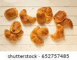 top view of fresh croissants... | Shutterstock . vector #652757485
