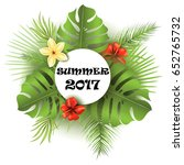 summer poster with tropical... | Shutterstock .eps vector #652765732