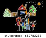 kids drawing happy family... | Shutterstock . vector #652783288
