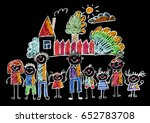 kids drawing happy family... | Shutterstock . vector #652783708