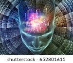 Radiating Mind series. 3D rendering composed of wire-mesh model of human head and fractal pattern as a metaphor on the subject of human mind, artificial intelligence and virtual reality