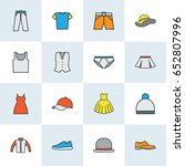 clothes colorful outline icons... | Shutterstock .eps vector #652807996