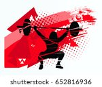 the athlete lifts the barbell | Shutterstock .eps vector #652816936