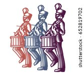 marching soldier drummers... | Shutterstock .eps vector #652819702