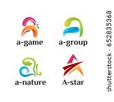 set of 3d a initial logo... | Shutterstock .eps vector #652835368