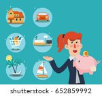 successful and smiling business ... | Shutterstock .eps vector #652859992