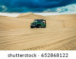 Jeep Trail On The White Sand...