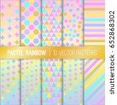pastel rainbow geometric vector ... | Shutterstock .eps vector #652868302
