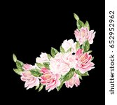 greeting card with peony ... | Shutterstock . vector #652952962