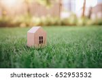 house paper model on grass with ...   Shutterstock . vector #652953532