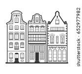 set of 3 amsterdam old houses... | Shutterstock .eps vector #652977982