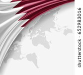 qatar flag of silk with... | Shutterstock . vector #652983016