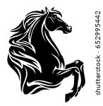 Stock photo beautiful black horse with long mane outline 652995442