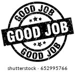 good job round grunge black... | Shutterstock .eps vector #652995766