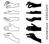 set of hands silhouette. vector ... | Shutterstock .eps vector #653012692