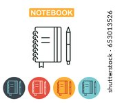 notebook icon with pen. vector... | Shutterstock .eps vector #653013526