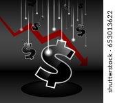 stocks fall shows the money... | Shutterstock .eps vector #653013622