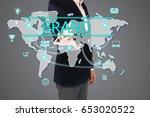 businessman pressing 'brand'... | Shutterstock . vector #653020522