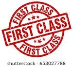 first class round red grunge... | Shutterstock .eps vector #653027788