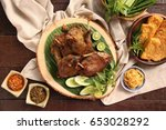 bebek goreng. popular... | Shutterstock . vector #653028292
