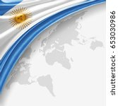 argentina flag of silk with... | Shutterstock . vector #653030986