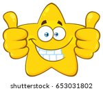 smiling yellow star cartoon... | Shutterstock .eps vector #653031802