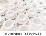 group of empty coffee cups of... | Shutterstock . vector #653044156
