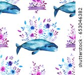 watercolor floral whales... | Shutterstock . vector #653046382