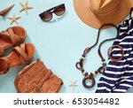 summer women's beach... | Shutterstock . vector #653054482