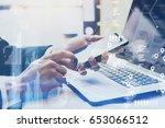 closeup view of male hand... | Shutterstock . vector #653066512