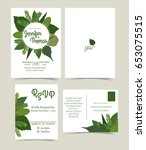 set of wedding invitation card  ... | Shutterstock .eps vector #653075515