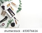 image of make up products on... | Shutterstock . vector #653076616