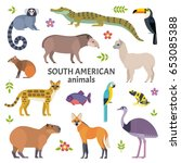 animals of south america.... | Shutterstock .eps vector #653085388