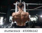 brutal strong bodybuilder... | Shutterstock . vector #653086162