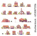 vector low poly 2d buildings... | Shutterstock .eps vector #653087356