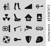 Safety Icons Set. Set Of 16...