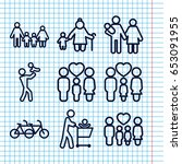 set of 9 father outline icons... | Shutterstock .eps vector #653091955