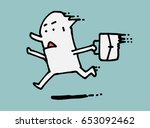 simple businessman has a rush... | Shutterstock .eps vector #653092462