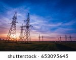 high voltage power lines at... | Shutterstock . vector #653095645