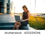 beautiful woman working... | Shutterstock . vector #653104246