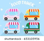 4 food trucks collection | Shutterstock .eps vector #653105956