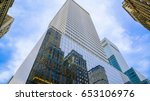 skyscrapers with blue glass...   Shutterstock . vector #653106976