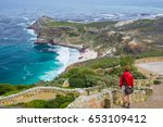 tourist hiking at cape point ... | Shutterstock . vector #653109412