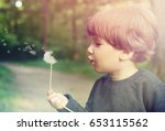 child boy blowing on a... | Shutterstock . vector #653115562