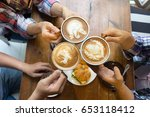 latte coffee art and people... | Shutterstock . vector #653118412